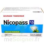 NICOPASS 1,5 mg SANS SUCRE MENTHE FRAICHEUR, pastille édulcorée à l'aspartam et à l'acésulfame potassique à SAINT CHRISTOLY DE BLAYE